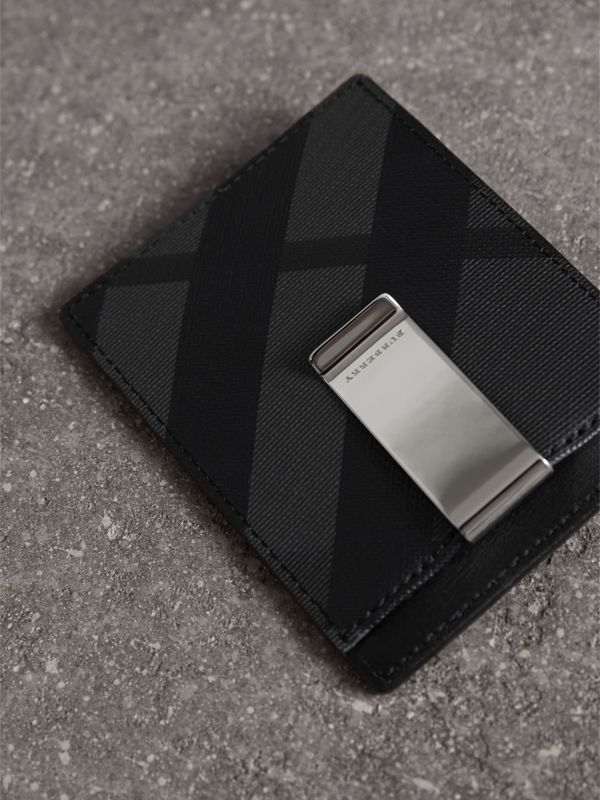 London Check Money Clip Card Case in Charcoal/black - Men | Burberry - cell image 2