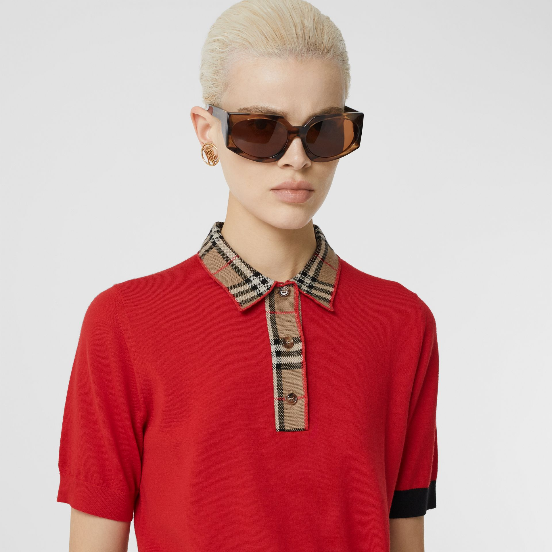Vintage Check Trim Merino Wool Polo Shirt in Bright Red - Women | Burberry United Kingdom - gallery image 1