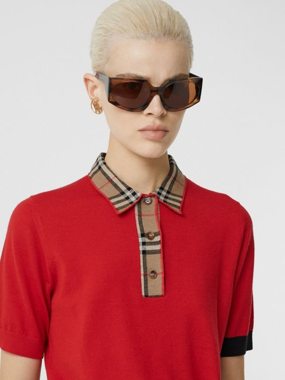 Vintage Check Trim Merino Wool Polo Shirt in Bright Red - Women | Burberry United Kingdom - cell image 1