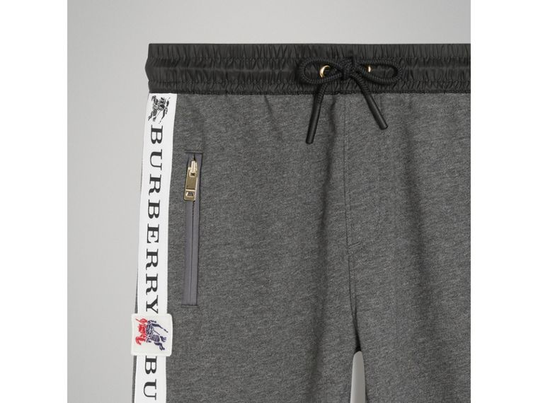 Logo Stripe Cotton Sweatpants in Charcoal Melange - Boy | Burberry - cell image 4