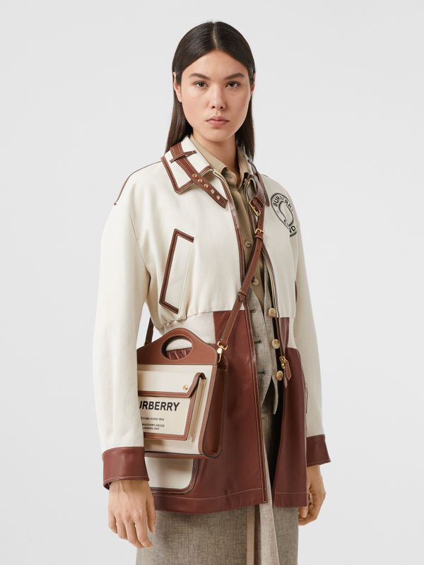 Mini Two-tone Canvas and Leather Pocket Bag in Natural/malt Brown - Women | Burberry - cell image 2