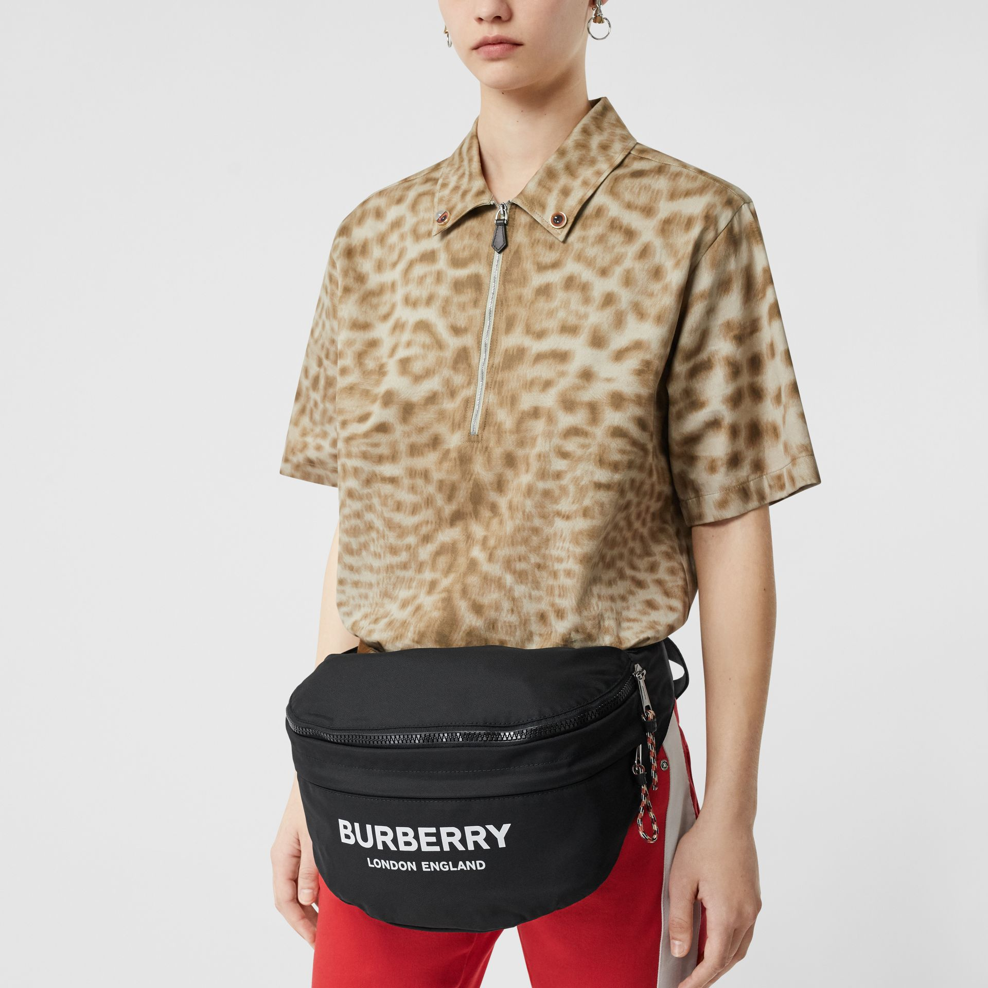 Logo Print Convertible Bum Bag in Black | Burberry - gallery image 2
