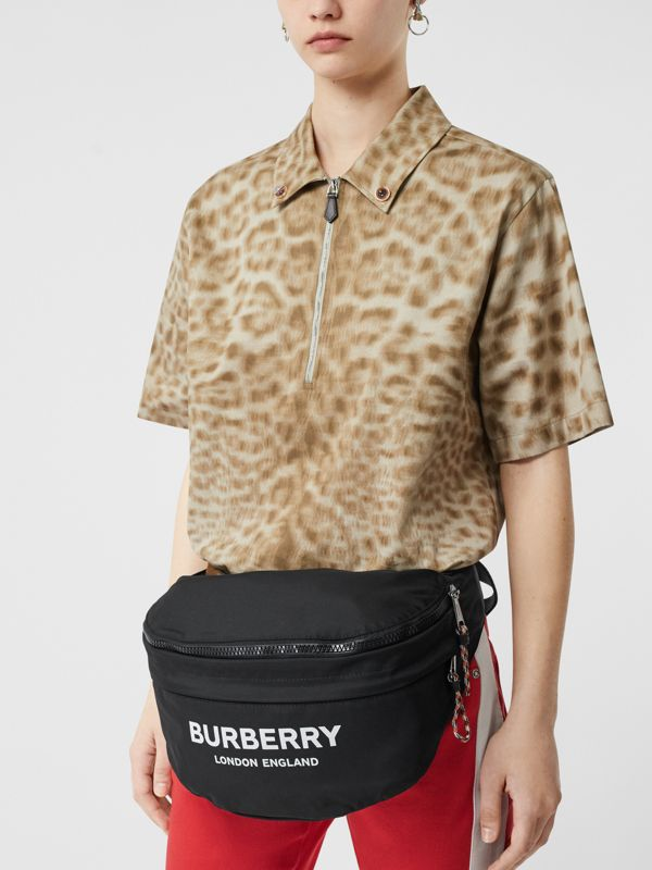 Logo Print Convertible Bum Bag in Black | Burberry Australia - cell image 2