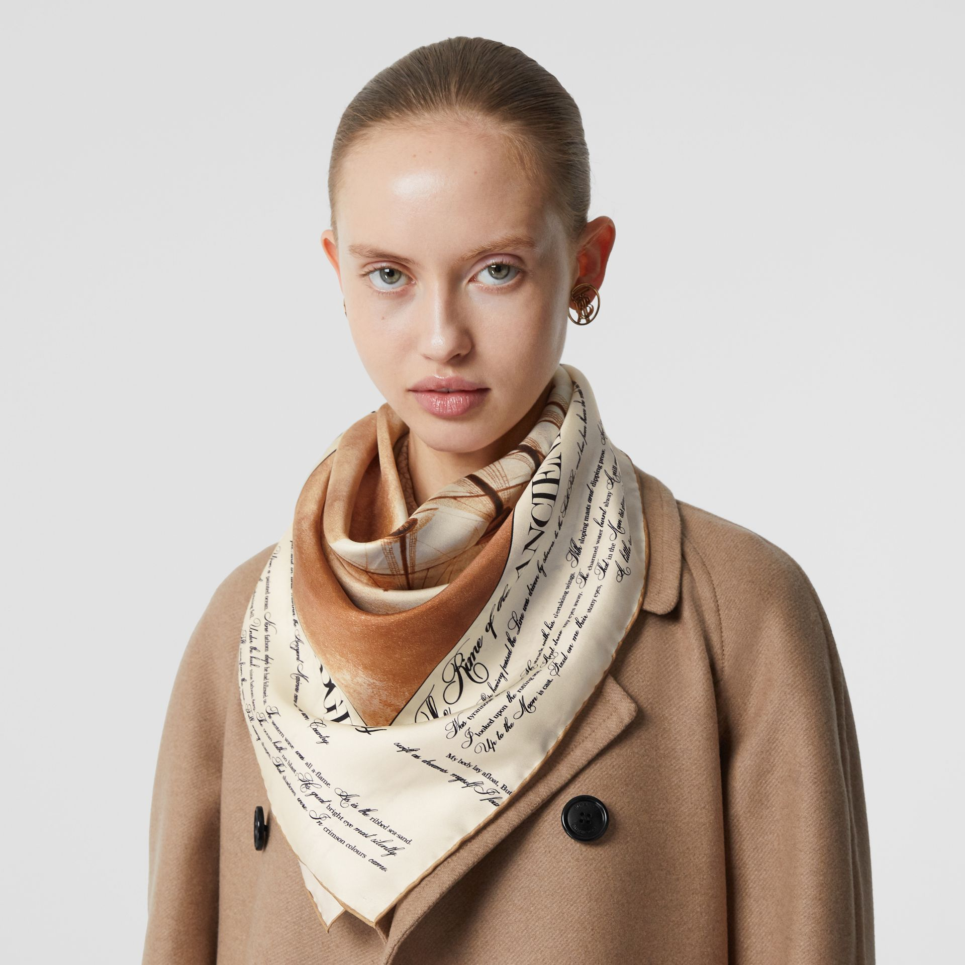 Mariner Print Silk Square Scarf in Bronze | Burberry - gallery image 2