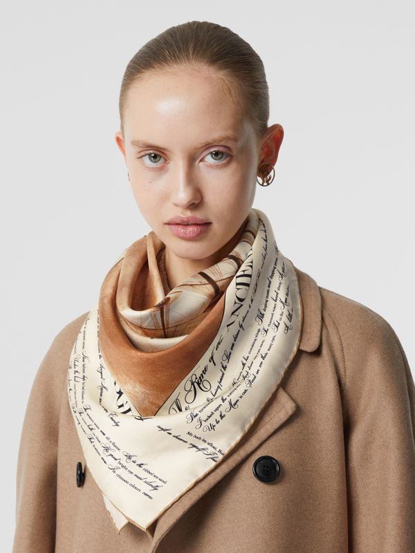Mariner Print Silk Square Scarf in Bronze | Burberry - cell image 2