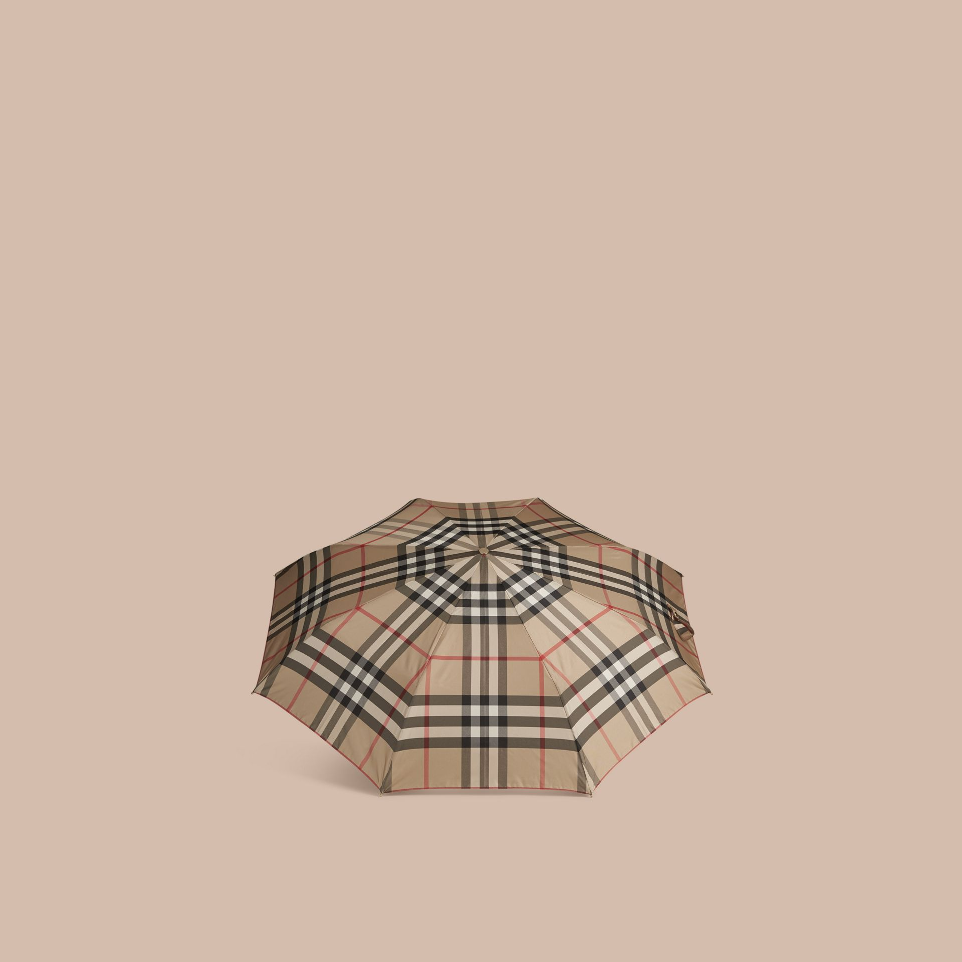 Check Folding Umbrella in Camel - gallery image 3