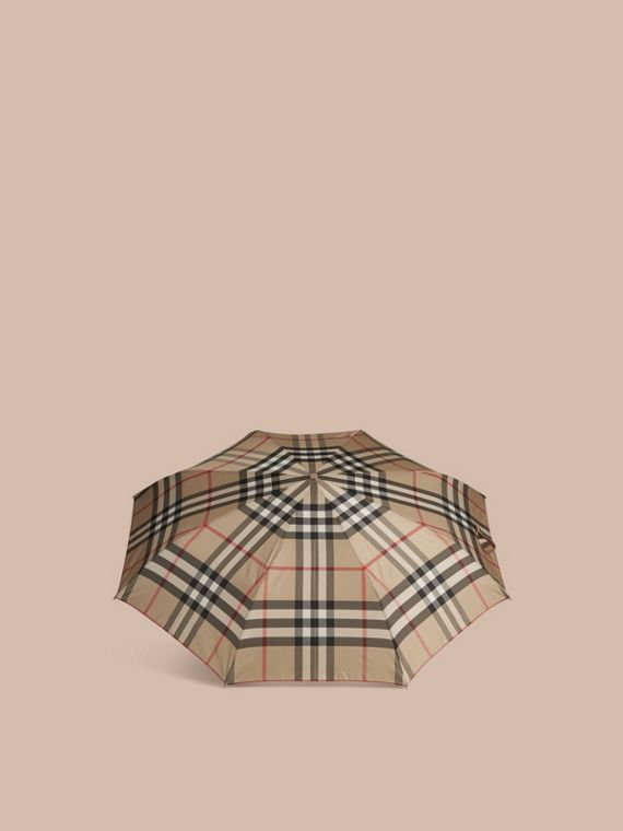 Check Folding Umbrella in Camel - cell image 2
