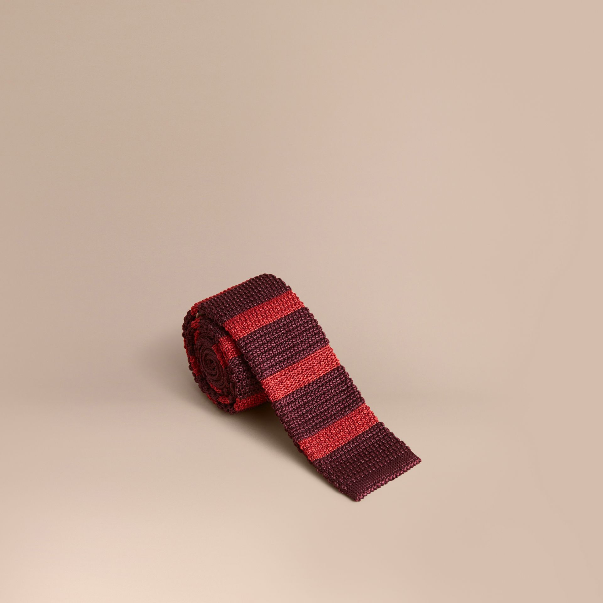 Slim Cut Two-tone Knitted Silk Tie in Burgundy - Men | Burberry Australia - gallery image 1