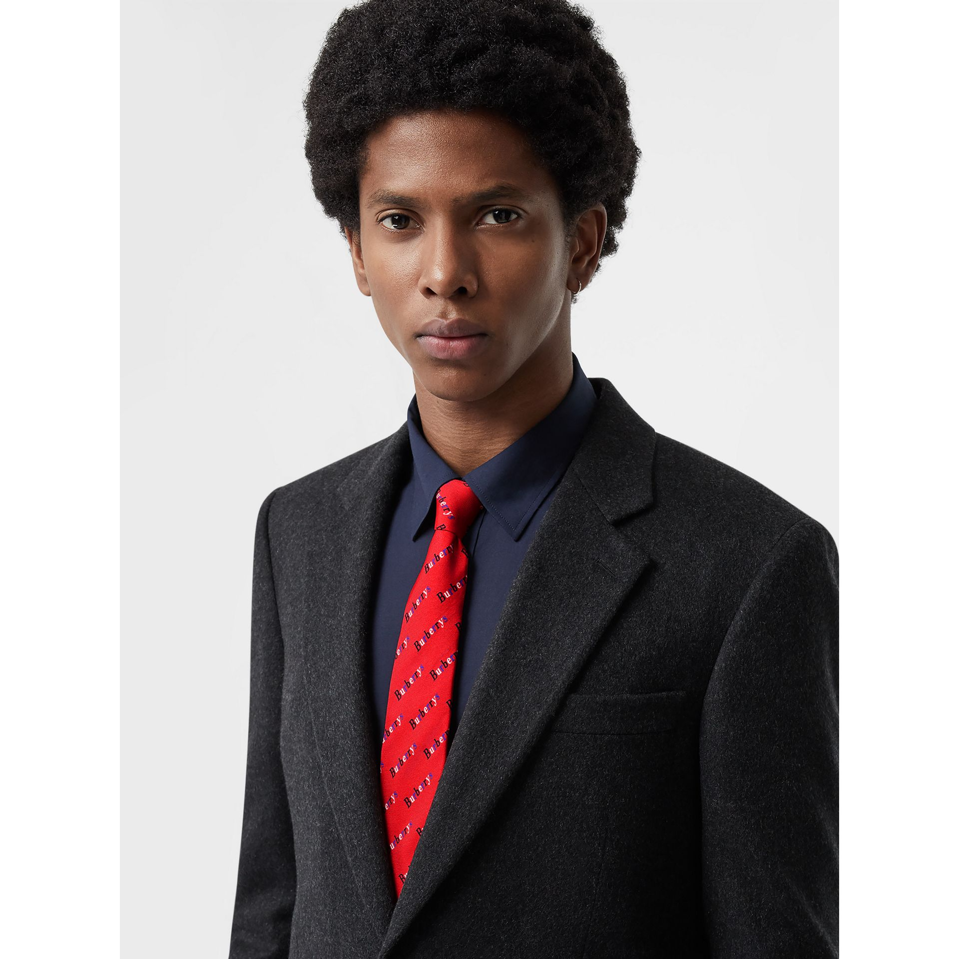 Modern Cut Archive Logo Print Silk Tie in Parade Red - Men | Burberry United States - gallery image 2