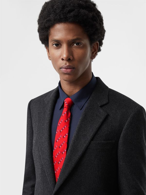 Modern Cut Archive Logo Print Silk Tie in Parade Red - Men | Burberry United States - cell image 2