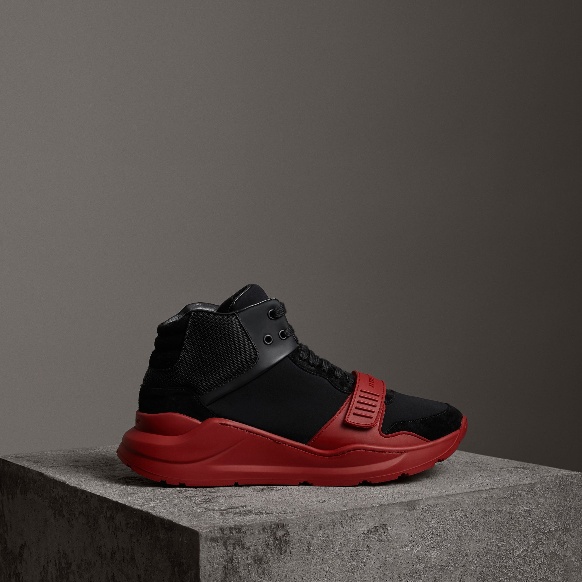 Suede Trim Neoprene High-top Sneakers in Black/military Red | Burberry Canada - gallery image 0