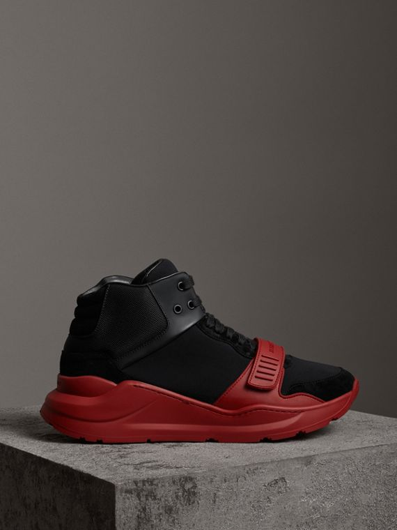 Suede and Neoprene High-top Sneakers in Black/military Red