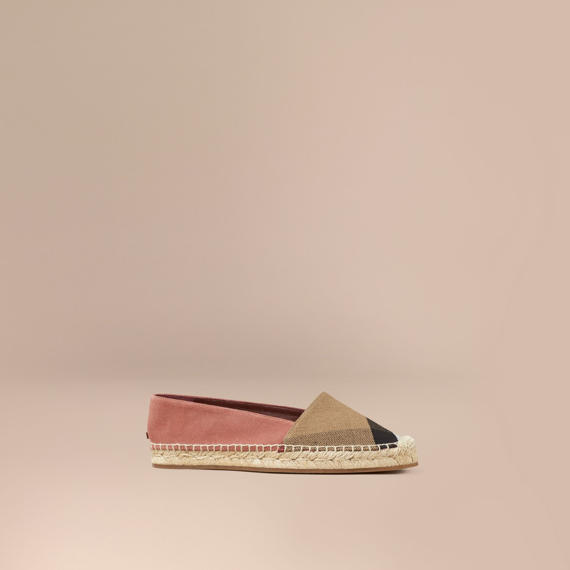 Pale russet Check Jute Cotton and Suede Espadrilles Pale Russet - gallery image 1