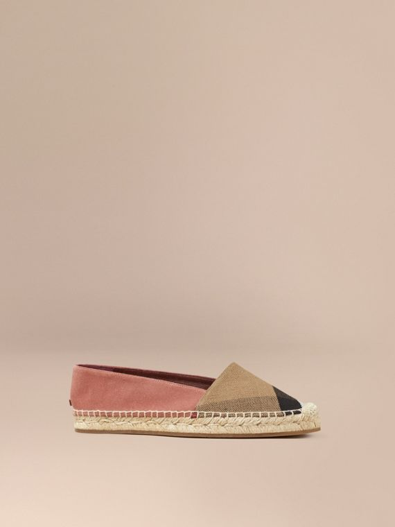 Check Jute Cotton and Suede Espadrilles Pale Russet