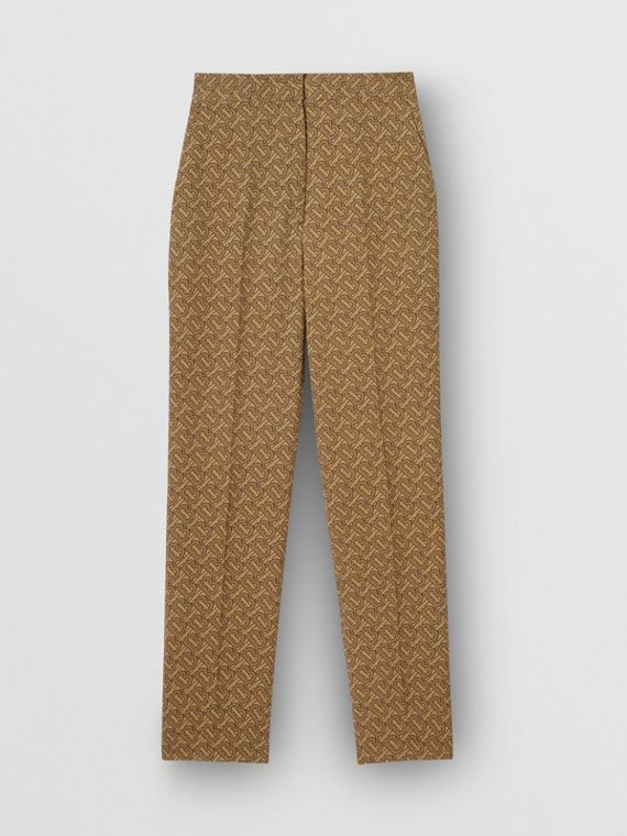 Monogram Print Silk Tailored Trousers in Tawny