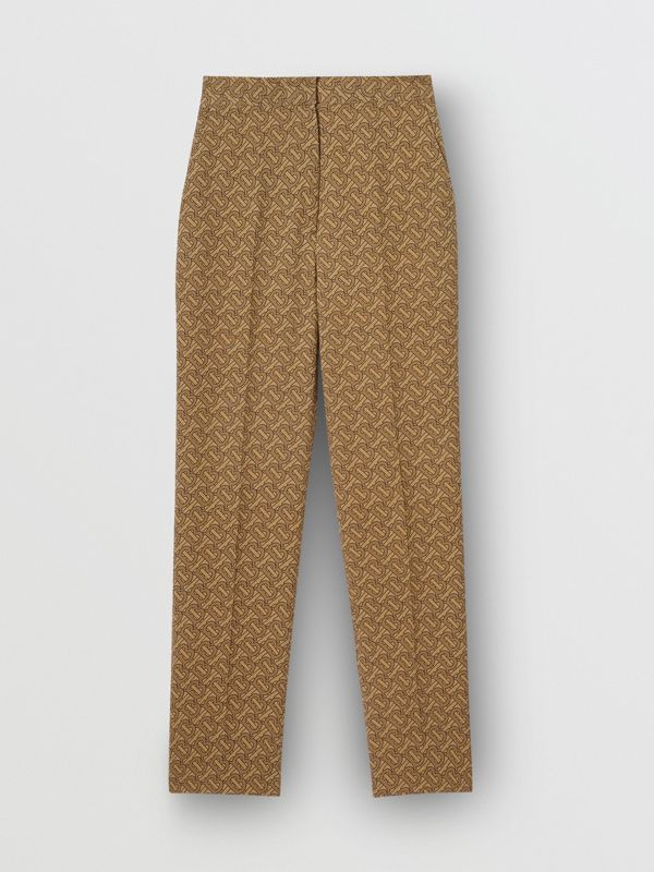 Monogram Print Silk Tailored Trousers in Tawny - Women | Burberry Canada - cell image 3