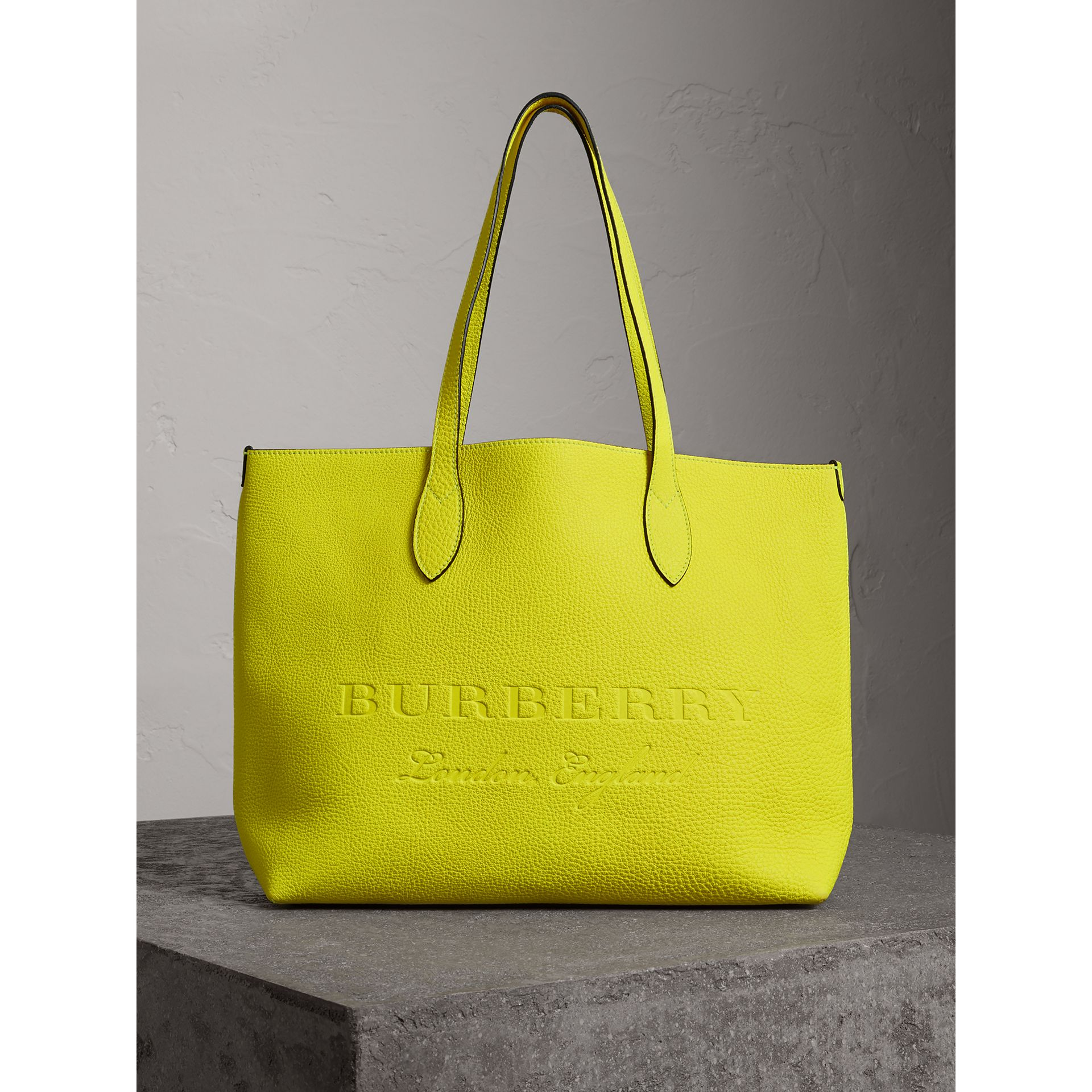 Embossed Leather Tote in Neon Yellow | Burberry - gallery image 0