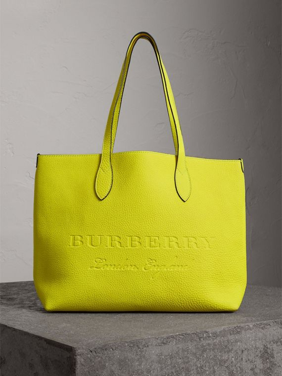 Large Embossed Leather Tote in Neon Yellow