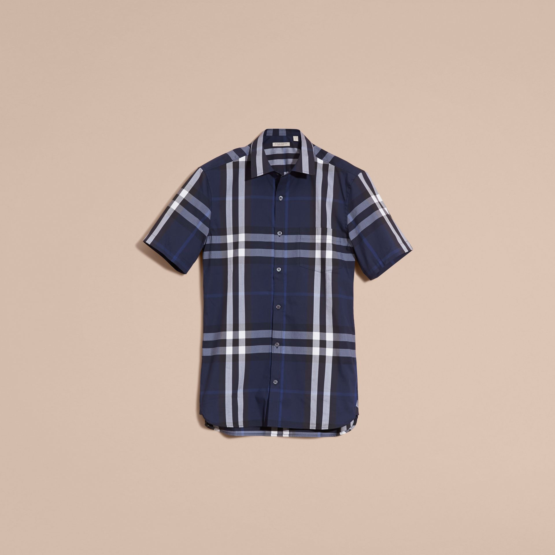 Short-sleeved Check Stretch Cotton Shirt in Indigo Blue - gallery image 4