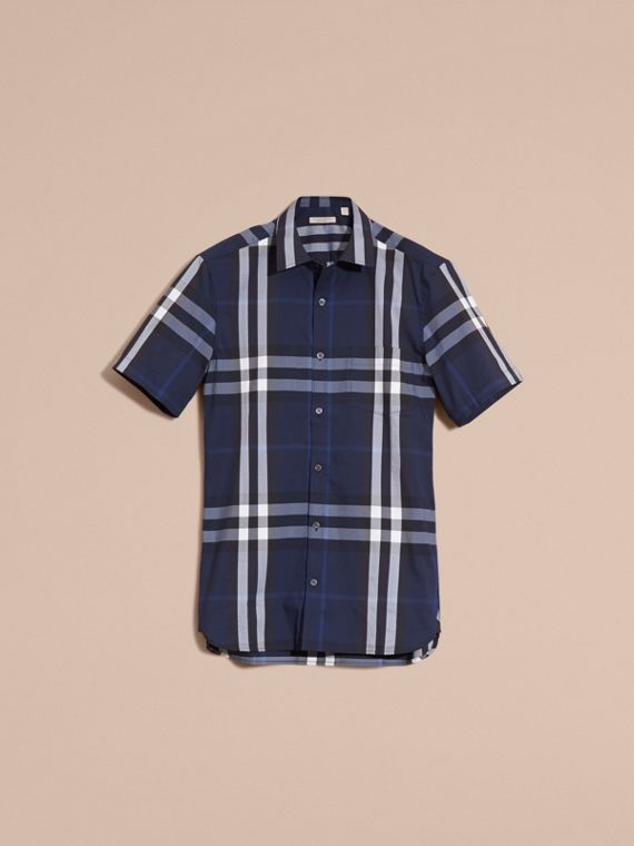 Short-sleeved Check Stretch Cotton Shirt Indigo Blue - cell image 3