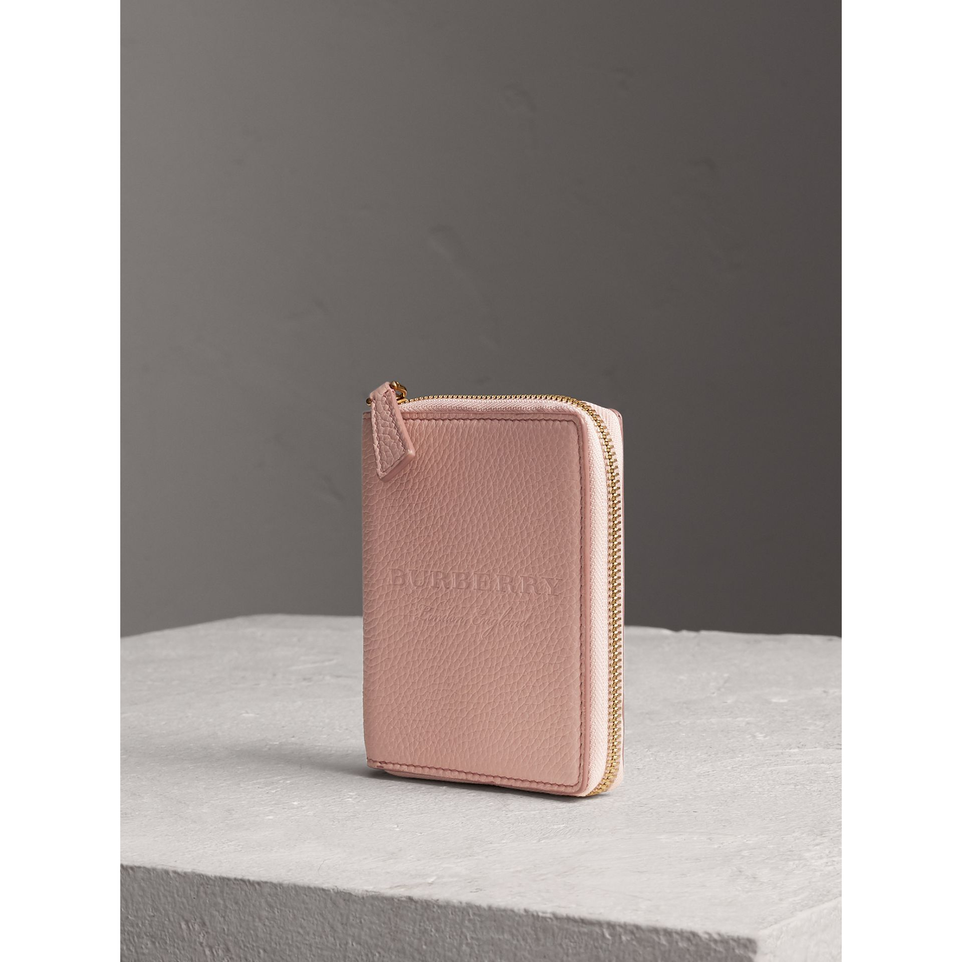 Embossed Grainy Leather Ziparound A6 Notebook Case in Pale Ash Rose | Burberry United Kingdom - gallery image 0