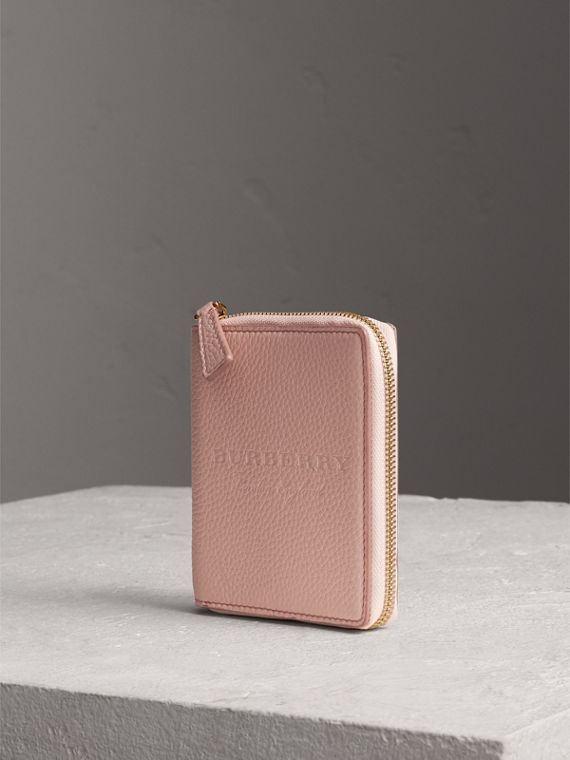 Embossed Grainy Leather Ziparound A6 Notebook Case in Pale Ash Rose