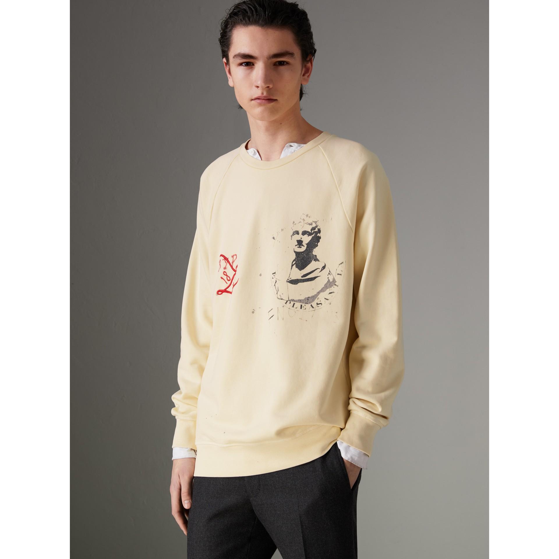 Portrait and Logo Print Cotton Sweatshirt in Pale Yellow - Men | Burberry United Kingdom - gallery image 2