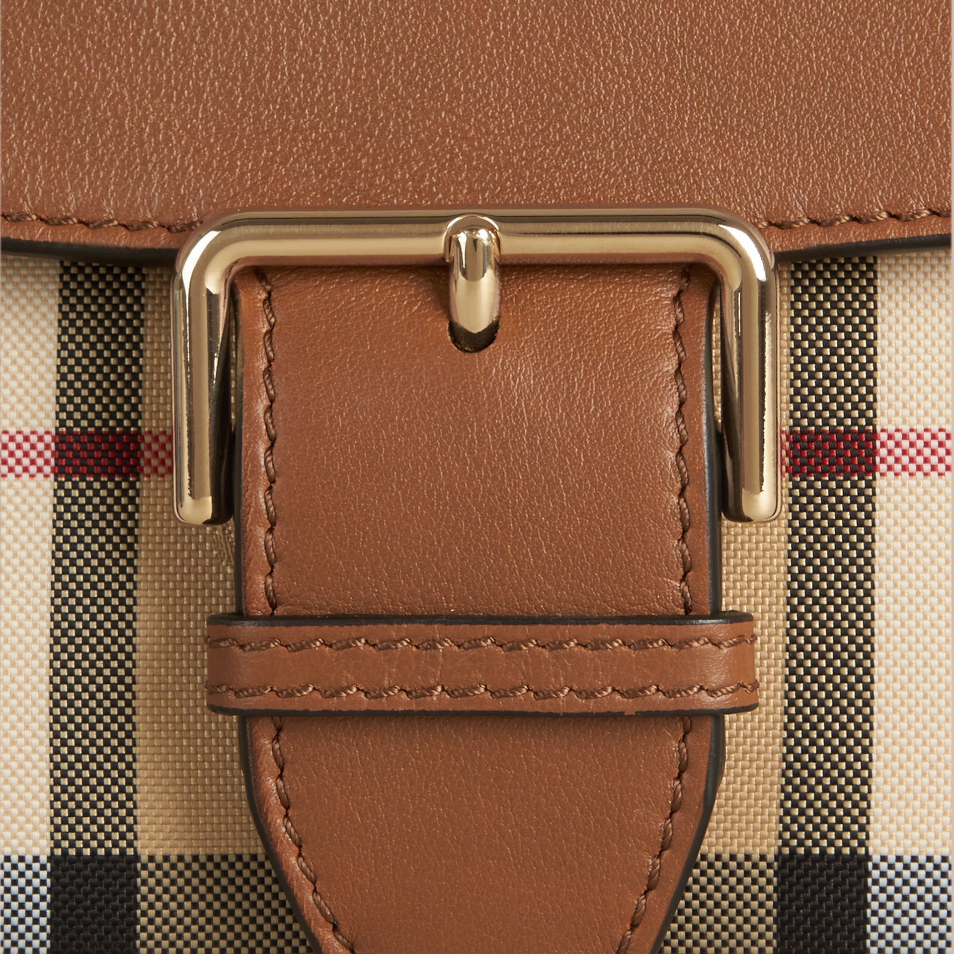 Honey/tan Small Horseferry Check and Leather Crossbody Bag Honey/tan - gallery image 2