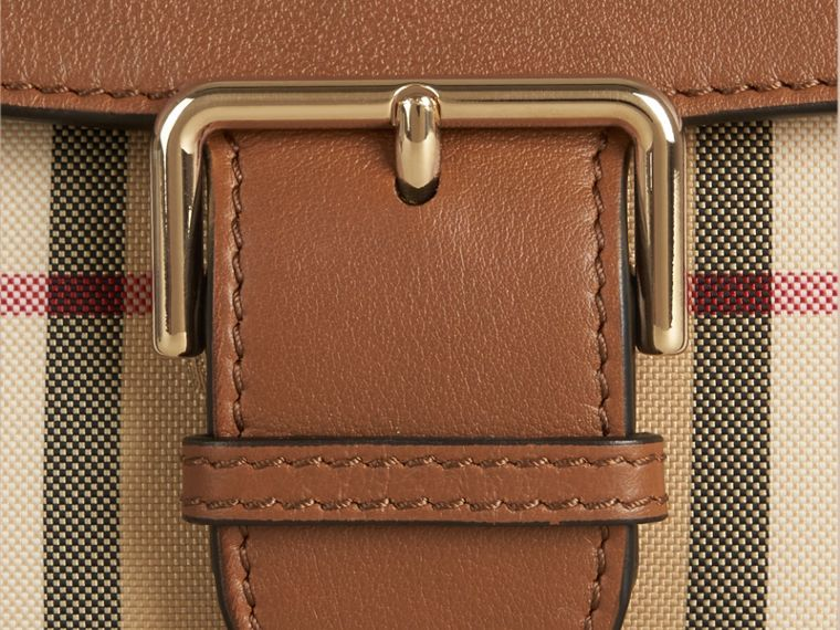 Honey/tan Small Horseferry Check and Leather Crossbody Bag Honey/tan - cell image 1