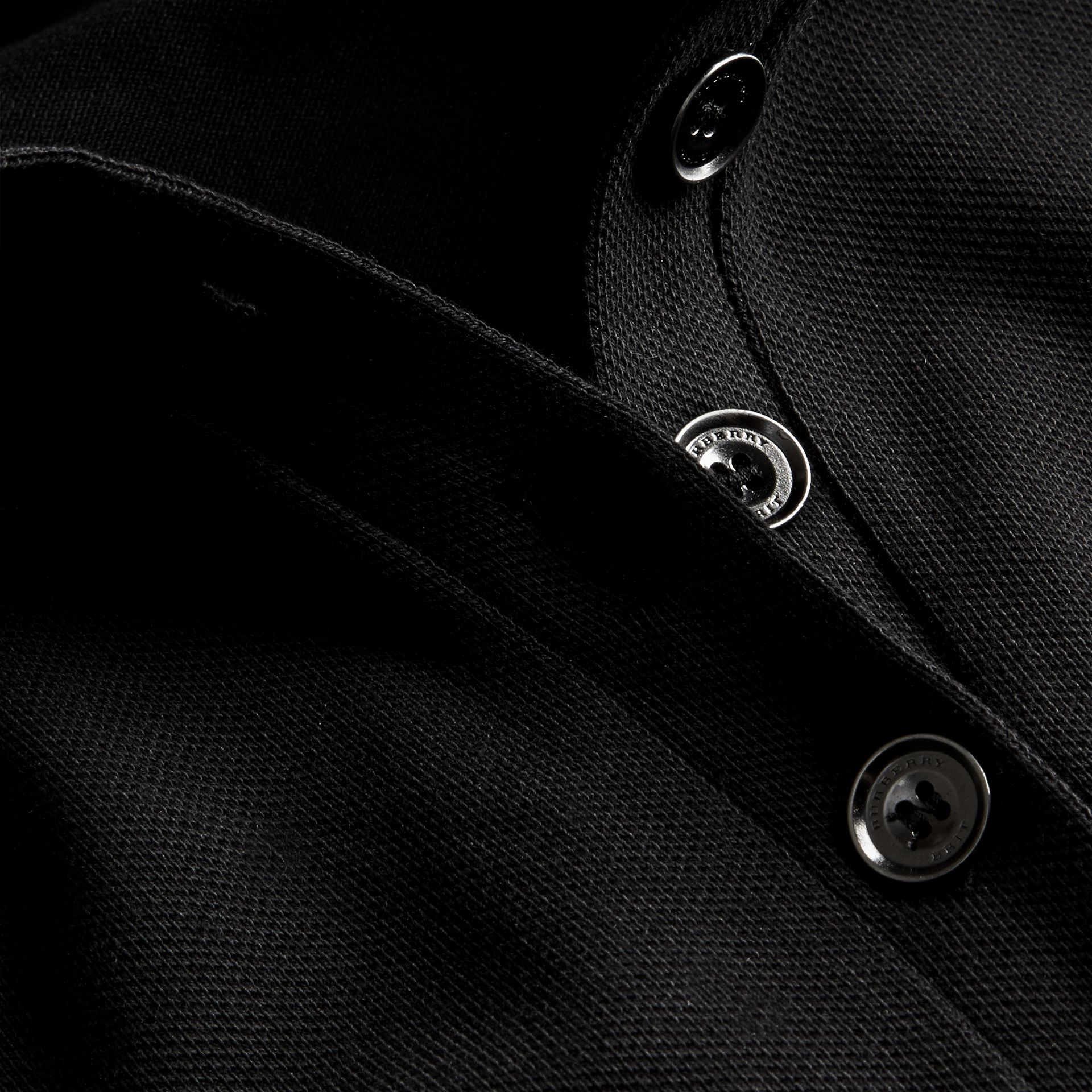 Check Trim Stretch Cotton Piqué Polo Shirt Black - gallery image 2