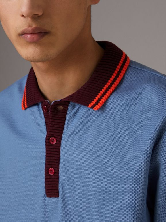 Two-tone Stripe Knitted Detail Cotton Polo Shirt in Light Blue - Men | Burberry - cell image 1
