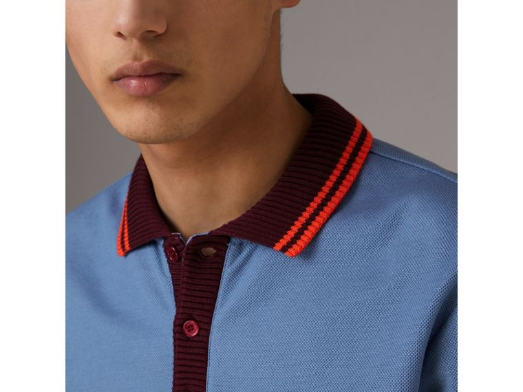 Two-tone Stripe Knitted Detail Cotton Polo Shirt in Light Blue - Men | Burberry United States - cell image 1