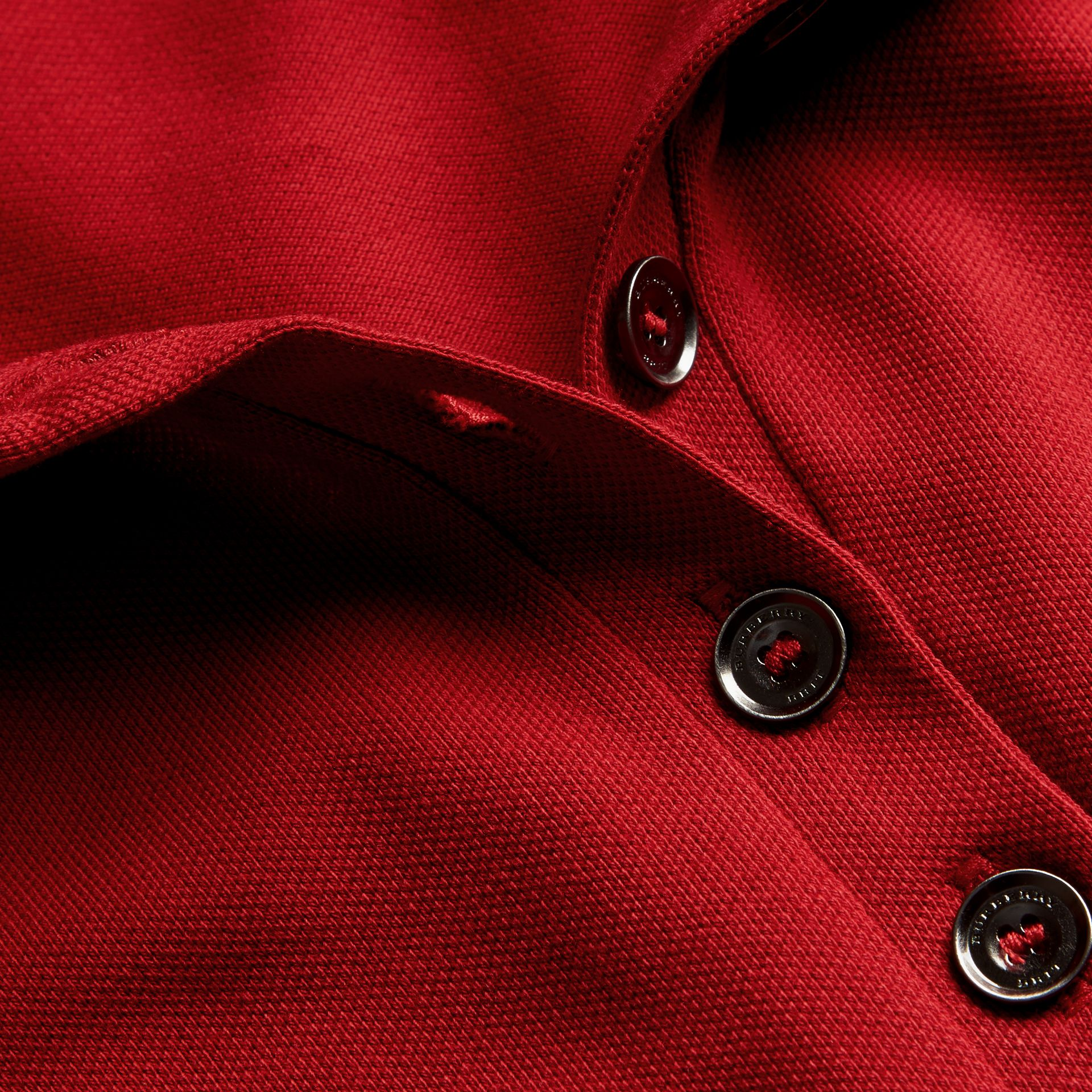 Check Trim Stretch Cotton Piqué Polo Shirt in Military Red - Women | Burberry Canada - gallery image 2
