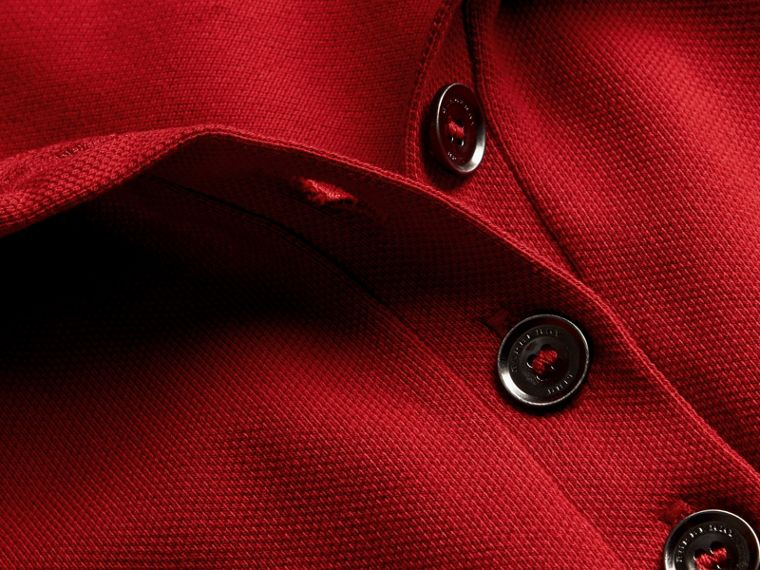Check Trim Stretch Cotton Piqué Polo Shirt in Military Red - Women | Burberry - cell image 1