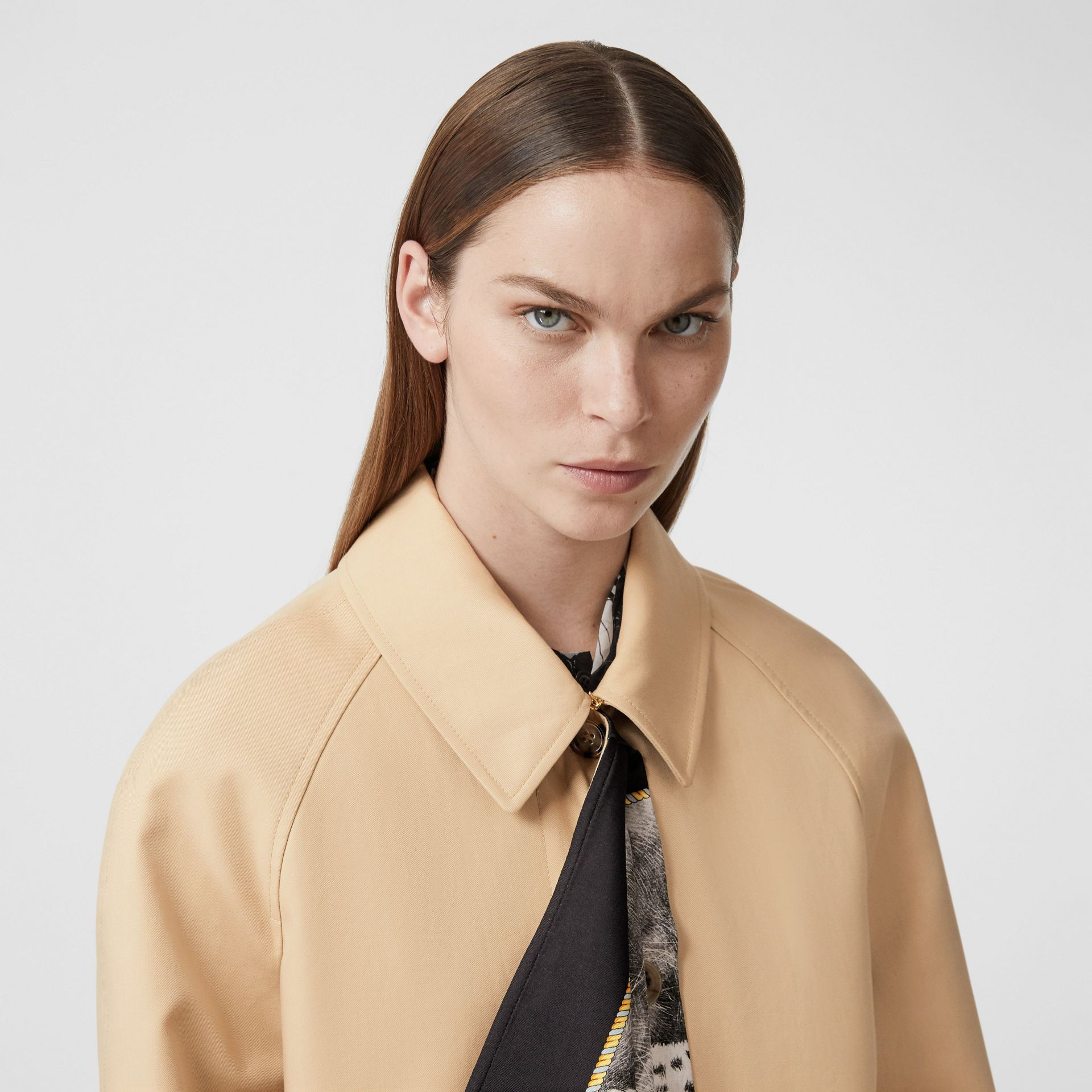 Animalia Print Silk Scarf Detail Cotton Car Coat in Soft Fawn - Women | Burberry - gallery image 1