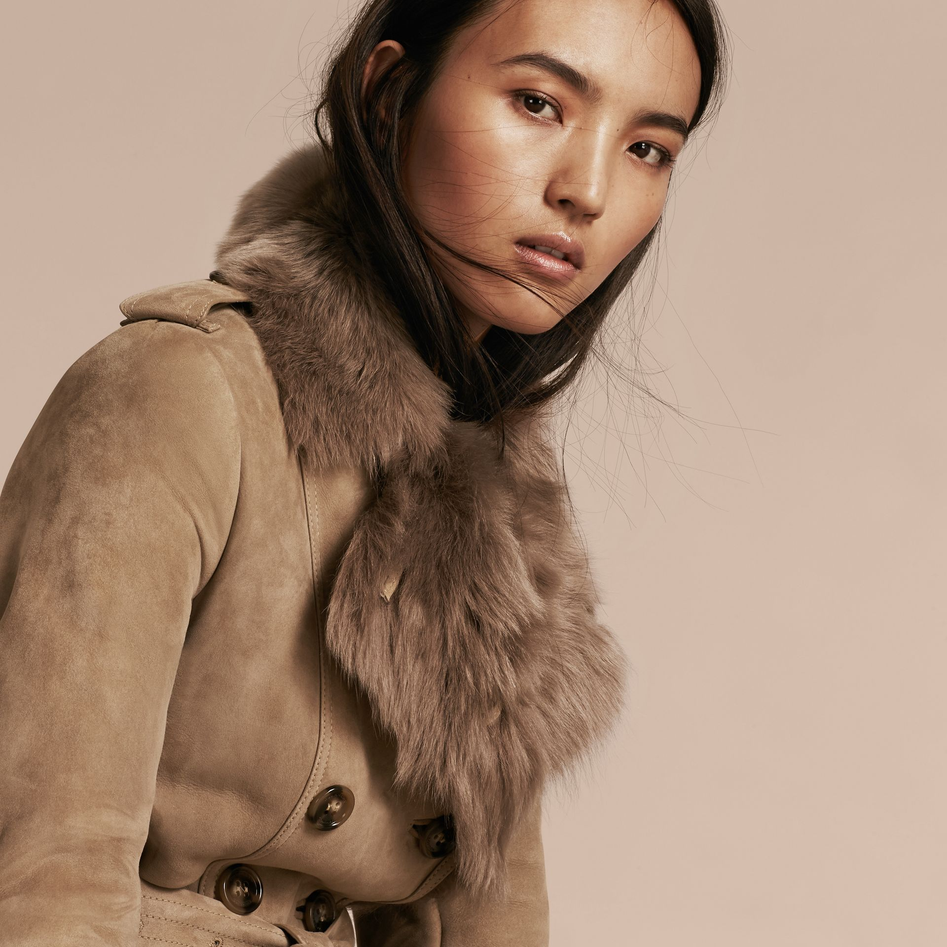 Camel Shearling Trench Coat Camel - gallery image 5