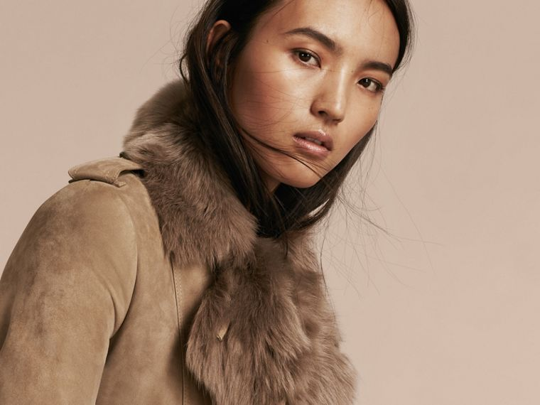 Shearling Trench Coat Camel - cell image 4