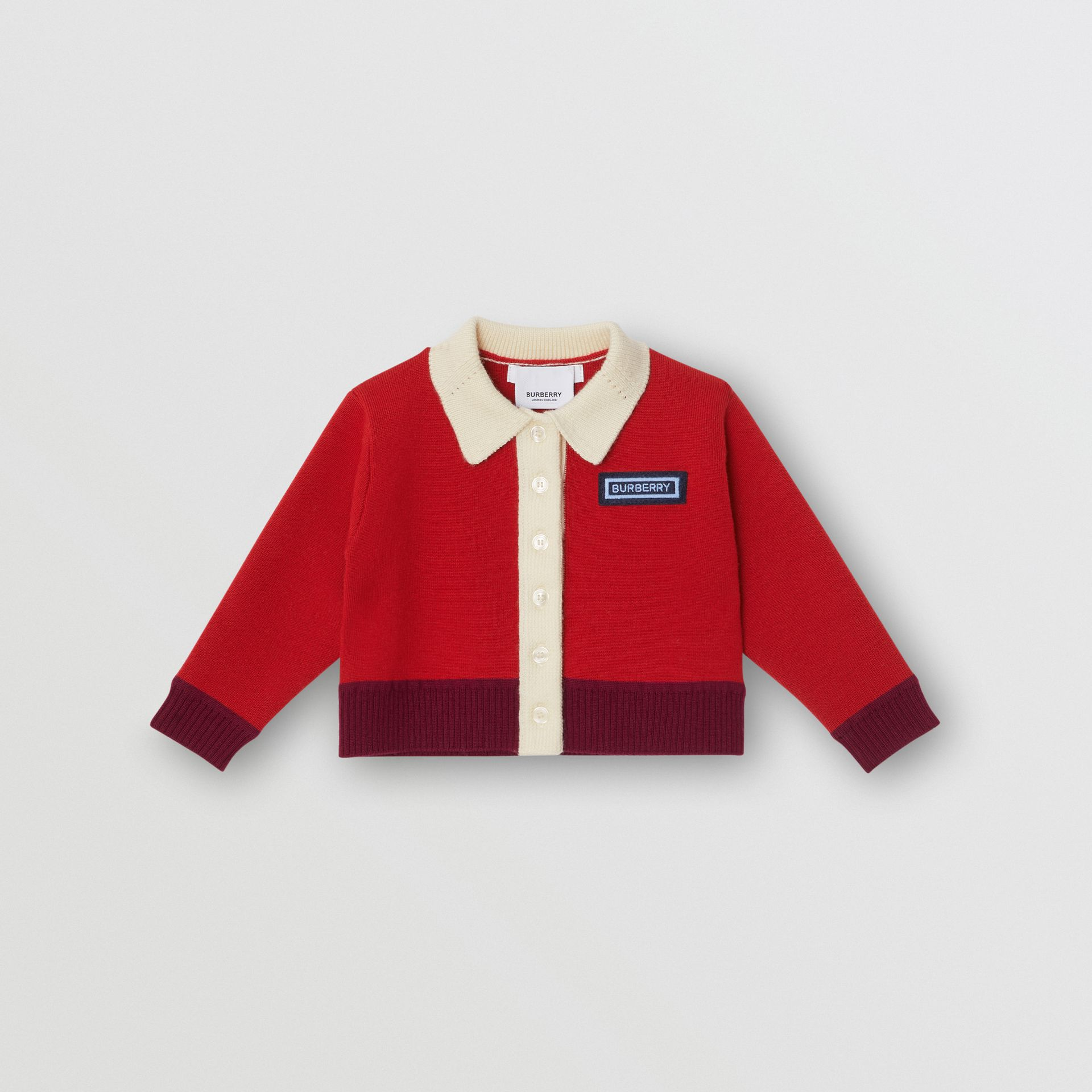 Logo Detail Merino Wool Blend Cardigan in Bright Red - Children | Burberry Australia - gallery image 0