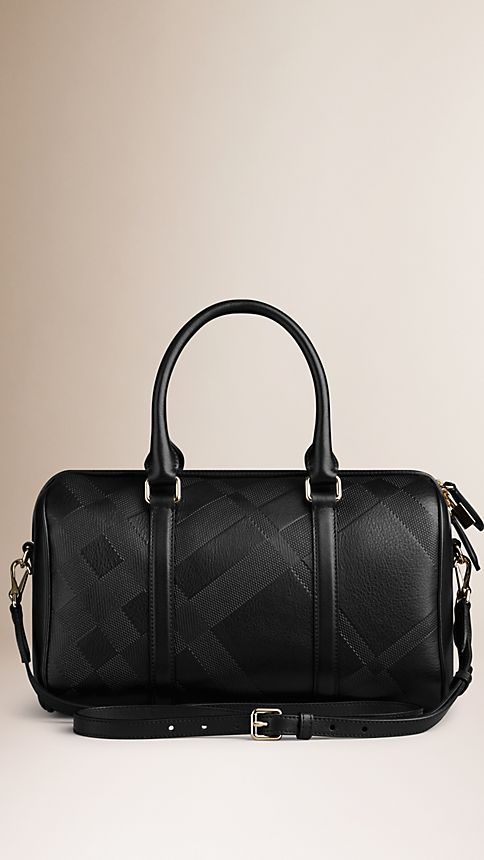 Black The Medium Alchester in Embossed Check Leather - Image 3