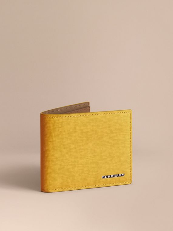 London Leather Slim Folding Wallet in Bright Citrus | Burberry