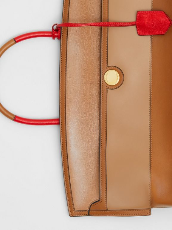 Panelled Leather Society Top Handle Bag in Warm Camel - Women | Burberry United Kingdom - cell image 1