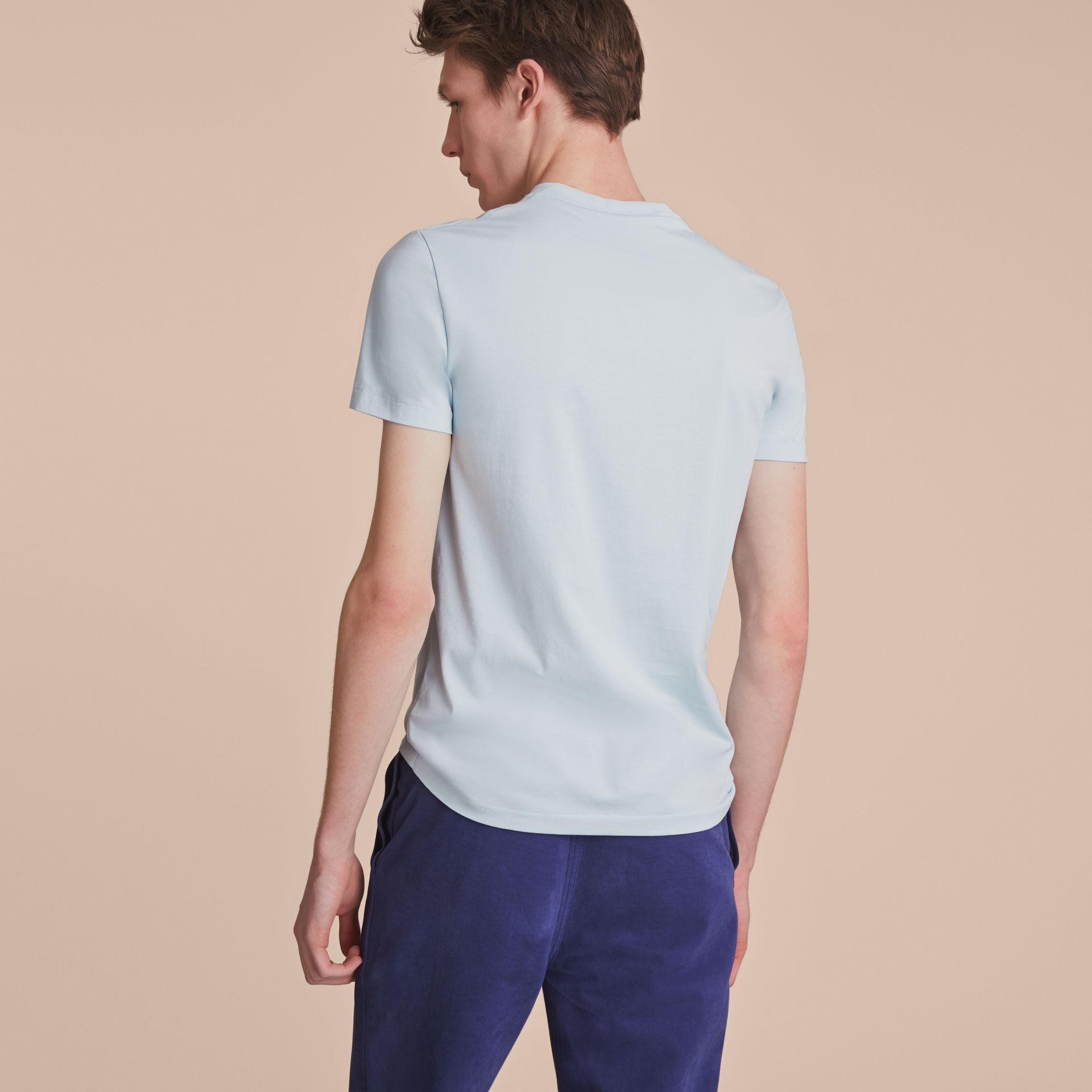 Cotton V-neck T-shirt in Pale Opal Blue - Men | Burberry - gallery image 3