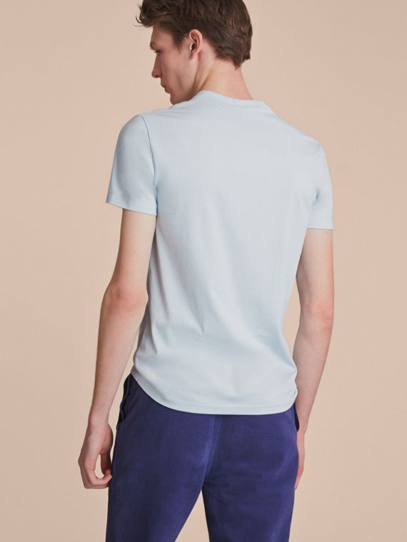 Cotton V-neck T-shirt in Pale Opal Blue - Men | Burberry - cell image 2