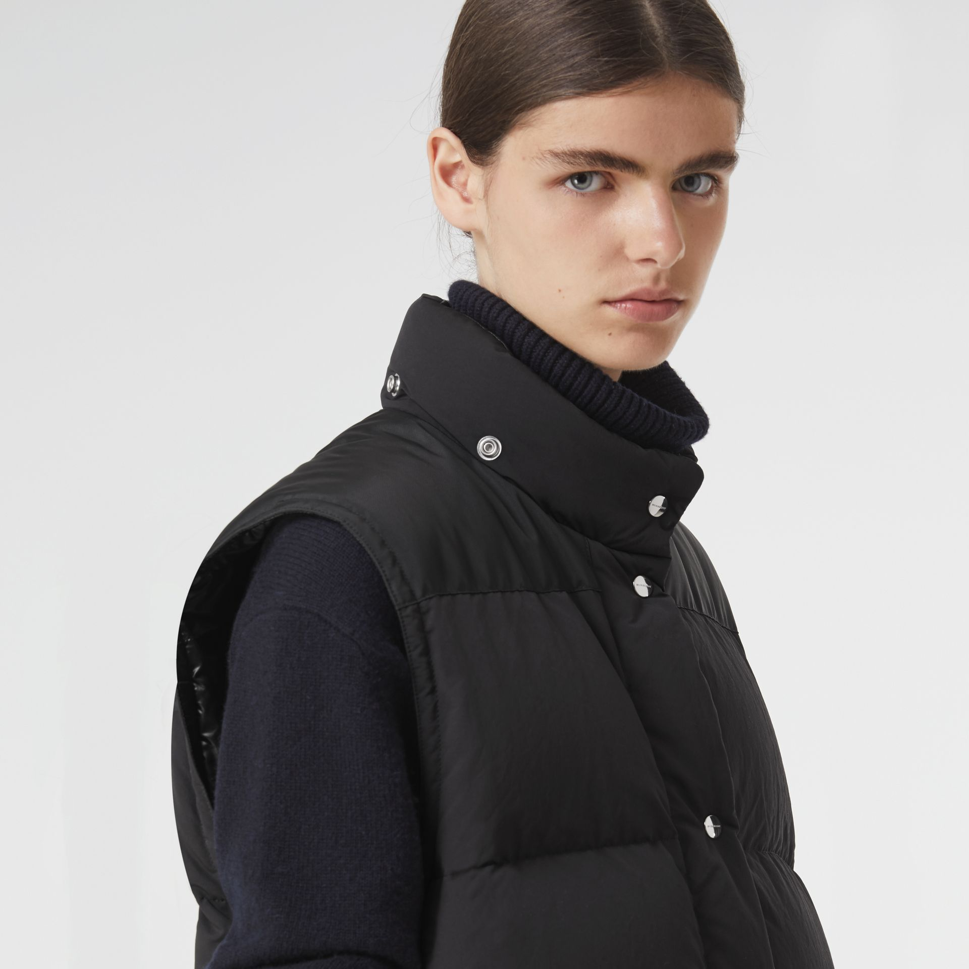 Detachable Hood and Sleeve Down-filled Puffer Jacket in Black - Women | Burberry - gallery image 4