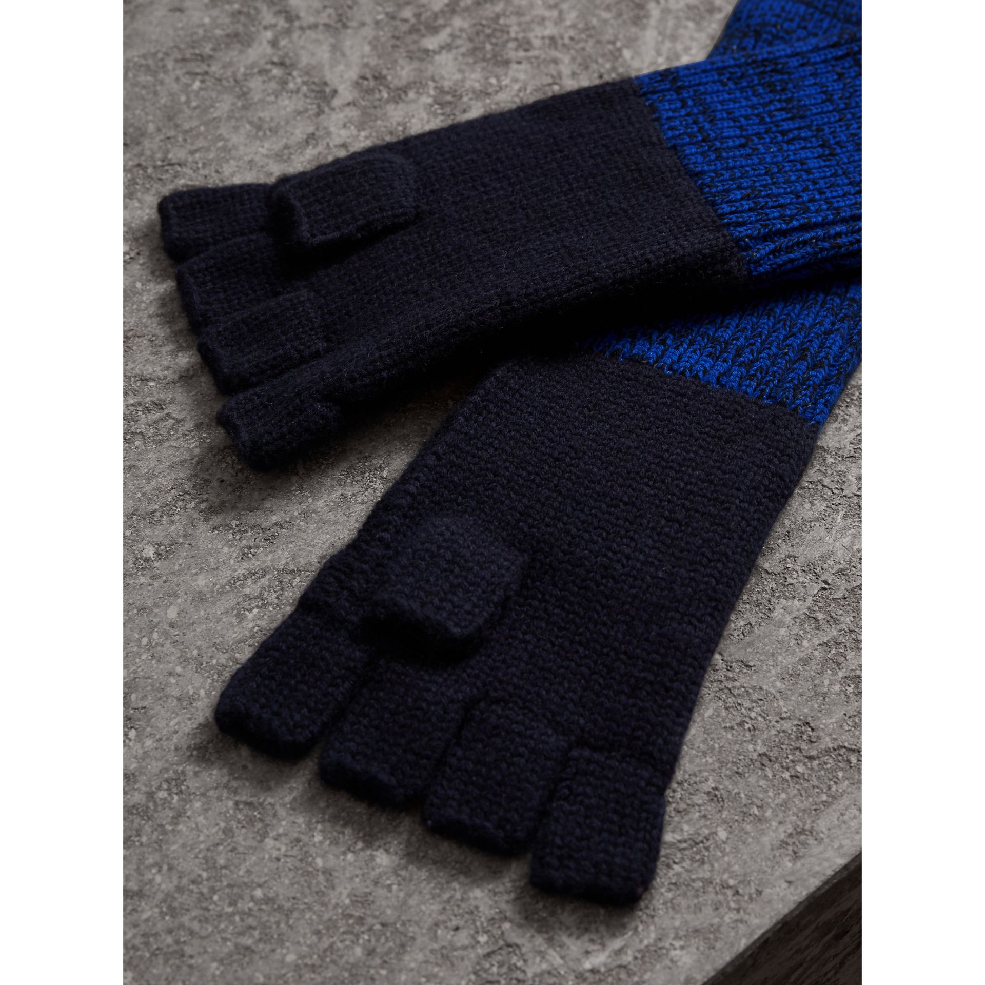Wool Cashmere Fingerless Gloves in Navy | Burberry - gallery image 3