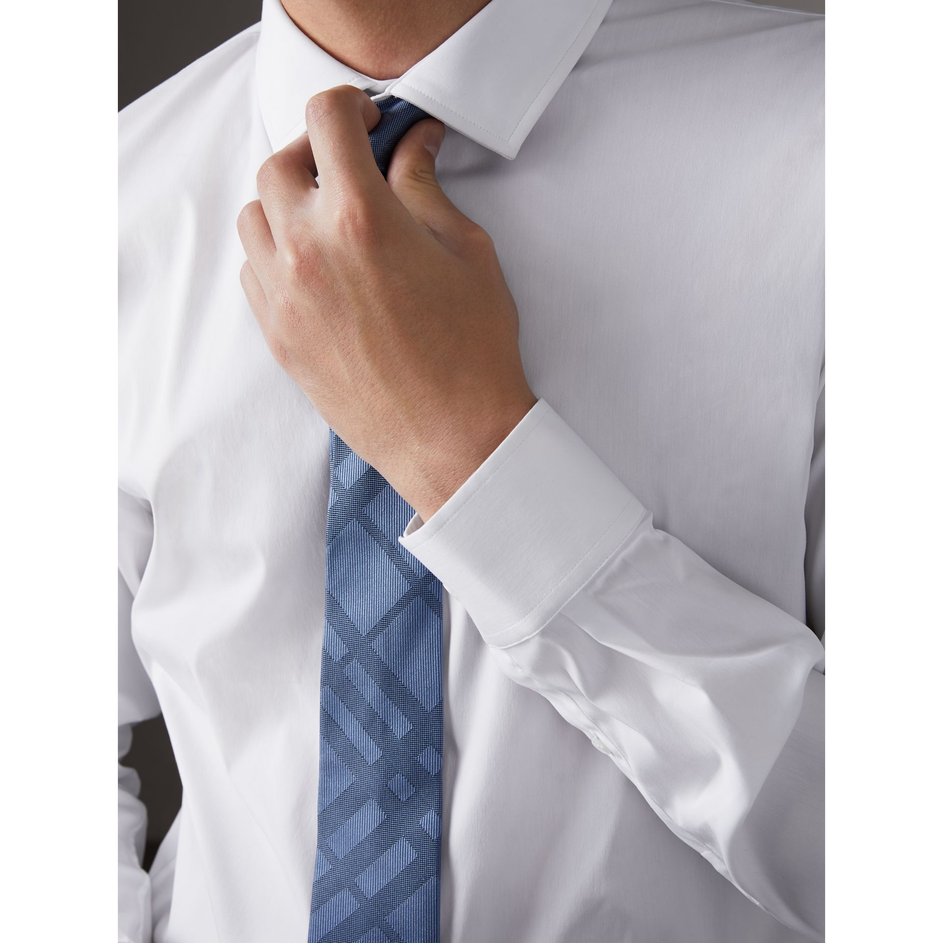 Slim Fit Stretch Cotton Poplin Shirt in White - Men | Burberry - gallery image 2