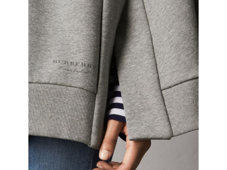 Jersey Hooded Cape in Pale Grey Melange - Women | Burberry - cell image 1