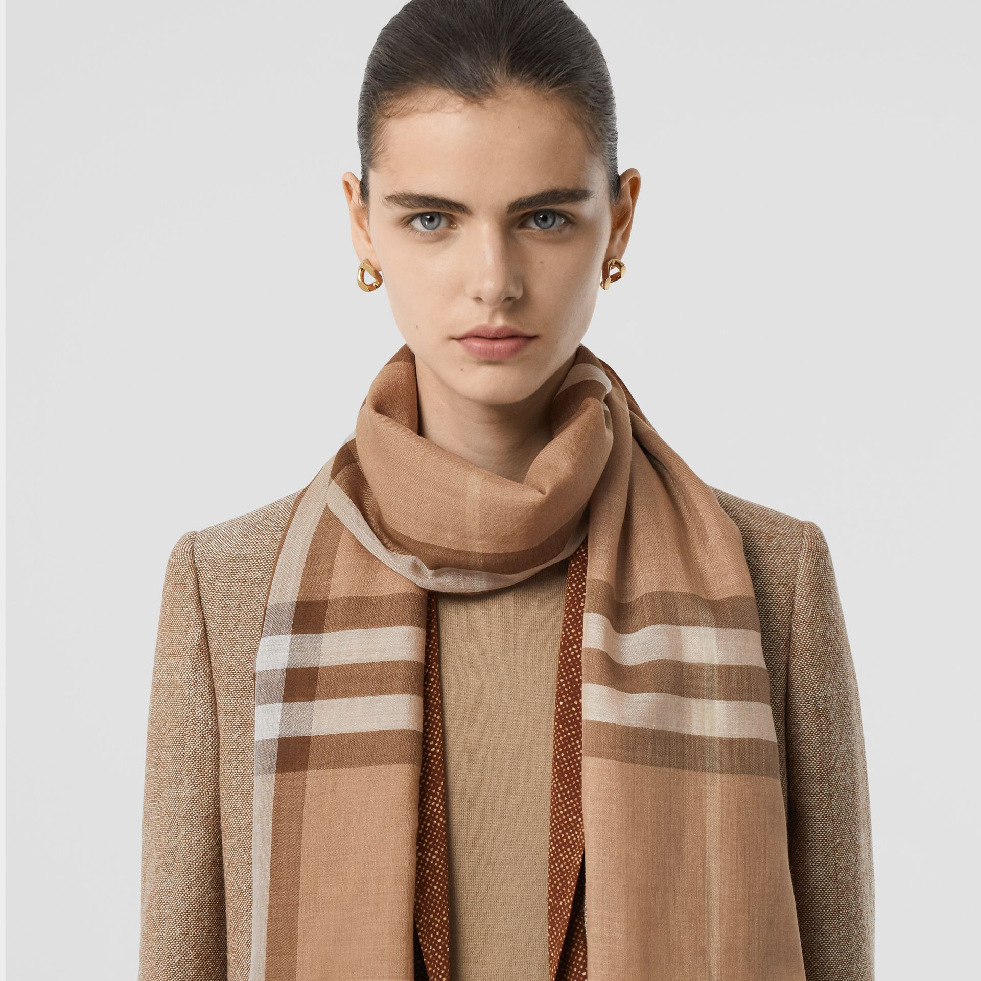 Lightweight Check Wool Silk Scarf in Mid Camel | Burberry - gallery image 2