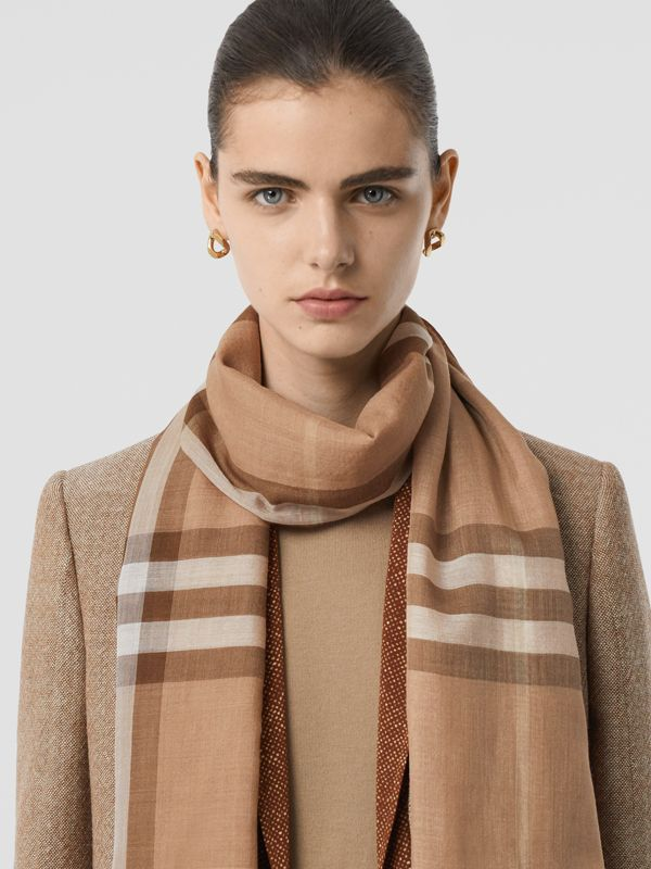 Lightweight Check Wool Silk Scarf in Mid Camel | Burberry - cell image 2