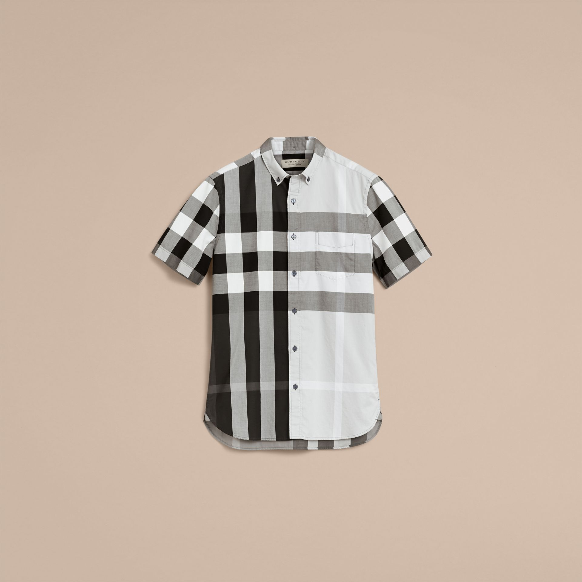 Button-down Collar Short-sleeve Check Cotton Shirt in Light Grey - Men | Burberry - gallery image 4